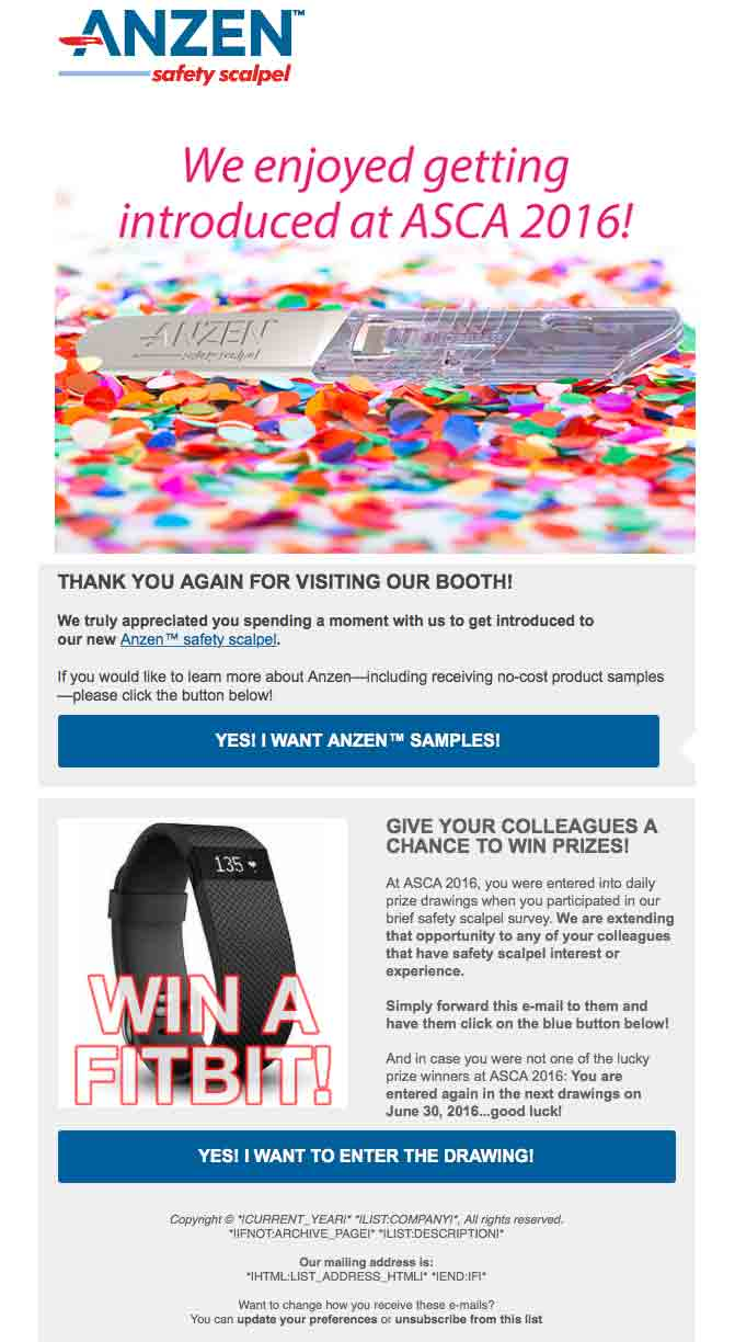 Anzen™ Safety Scalpel e-Mail Campaign: ASCA 2016 (Post Event)