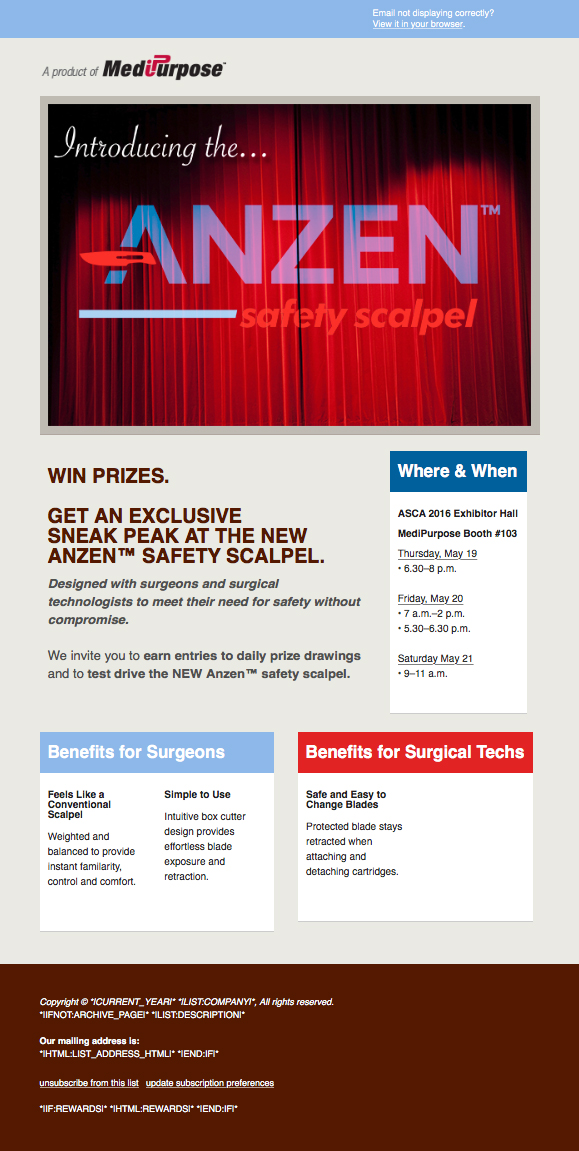 Anzen™ Safety Scalpel e-Mail Campaign: ASCA 2016 (Pre Event)